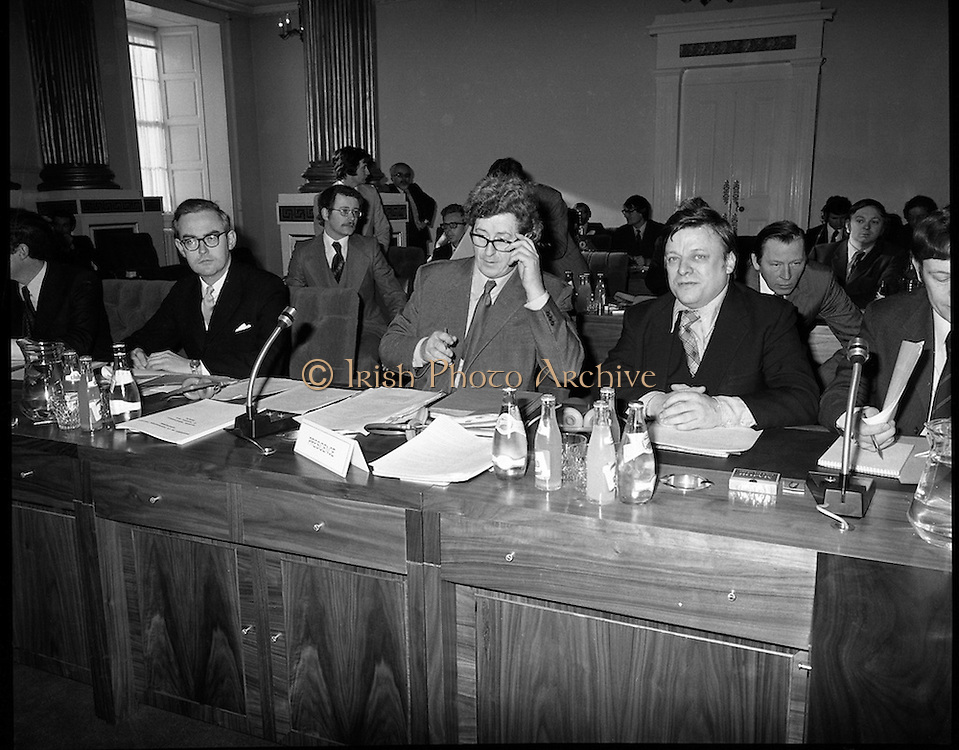 European Foreign Ministers Meet in Dublin.  (J2)..13.02.1975..02.13.1975..13th February 1975..A meeting of European foreign ministers took place in Dublin today. Ireland's representative at the meeting was Dr Garret Fitzgerald, the minister for Foreign Affairs. Other ministers attending the meeting were:.Mr M.Van Eslande...Belgium..Mr M.E. Joergenson...Denmark..Mr M.M.Rumor...Italy..Mr M.Jean Sauvagnargues...France..Mr M.Gaston Thorn...Luxembourg..Mr M.M.Van der Stoel...Holland..Mr Hans-Dietrich Genscher...Germany..Mr Roy Hattersley...Great Britain..and representing the Commission,.Mr. M.Francois-Xavier Ortoli..St Patrick's Hall,Dublin Castle, was the venue chosen for the meeting..Irelands Representative at the Meeting,Dr Garret Fitzgerald is pictured as he prepares himself for the meeting.