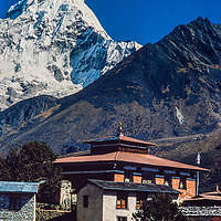 Mt. Ama Dablam towers over Tengboche Monastery in the Khumbu region of Nepal 1986.