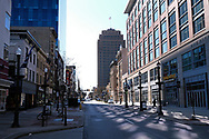 Downtown is empty Mar. 21, 2020, on Hamilton Street in Allentown, Pennsylvania as communities across the Lehigh Valley are adjusting to life during the coronavirus pandemic that is impacting the daily lives of Pennsylvania residents both socially and economically. (Photo by Matt Smith)