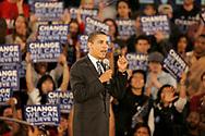 Sen. Barack Obama speaks to a packed house at Washington High School on Wednesday night.
