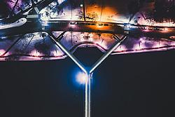 THEMENBILD - die Ypsilon Bruecke am Abend mit den Lichtern der Stadt, aufgenommen am 15. Maerz 2019 in Drammen, Norwegen // the Ypsilon Bridge in the evening with the lights of the city, Drammen, Norway on 2018/03/15. EXPA Pictures © 2019, PhotoCredit: EXPA/ JFK