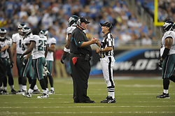 DETROIT - SEPTEMBER 19: Head coach Andy Reid of the Philadelphia Eagles talks with an official during the game against the Detroit Lions on September 19, 2010 at Ford Field in Detroit, Michigan. The Eagles won 35-32. (Photo by Drew Hallowell/Getty Images)  *** Local Caption *** Andy Reid
