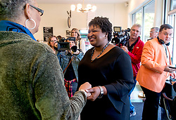 October 31, 2018 - Atlanta, Georgia, U.S. -  STACEY ABRAMS, Democratic candidate for governor of Georgia, stops at Emerald City Bagels for a brief press event and to get some breakfast.(Credit Image: © Brian Cahn/ZUMA Wire)