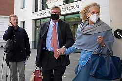 "© Licensed to London News Pictures. 28/09/2020. London, UK. Hedge fund manager Crispin Odey (centre)departs Westminster Magistrates Court after denying indecently assaulting a woman more than 20 years ago. The Tory donor, 61, was charged on 14 May this year over an alleged incident at an address in Chelsea, west London, in 1998. The Metropolitan police said Odey is alleged to have indecently assaulted ""a woman over 16 years of age"" on or around 13 July 1998 at an address in Swan Walk, Chelsea. The influential financier and founder of Odey Asset Management was a high-profile backer of the Brexit campaign, who donated more than £870,000 to pro-leave groups.  Photo credit: George Cracknell Wright/LNP"