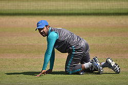Pakistan captain Sarfraz Ahmed during the nets session at Cardiff Wales Stadium.