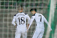 RAZGRAD, BULGARIA - NOVEMBER 05: Heung-Min Son and Giovani Lo Celso of Tottenham Hotspur react during the UEFA Europa League Group J stage match between PFC Ludogorets Razgrad and Tottenham Hotspur at Ludogorets Arena on November 5, 2020 in Razgrad, Bulgaria. (Photo by Alex Nicodim/MB Media)