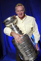 """3 April 2004: Portrait of NHL Hall of Fame ice hockey player and coach legend Larry """"Big Bird"""" Robinson.  Currently a coaching consultant for the New Jersey Devils. He helped bring his current team to victory over the Ducks in the 2002-2003 Stanley Cup finals. Larry played professionally 17 years with the Montreal Canadiens and 3 with the Los Angeles Kings.  His name is engraved 9 times on this trophy.  Larry was inducted into the Hall of Fame in 1995 when the cup first started traveling."""