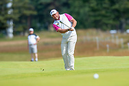 Lee Westwood (ENG) plays his second shot to the 11th green during the final round of the Aberdeen Standard Investments Scottish Open at The Renaissance Club, North Berwick, Scotland on 14 July 2019.