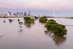 View of downtown during Trinity River flood, Dallas, Texas, USA