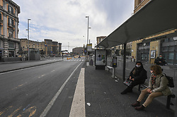 Desert Naples city, Italy on March 14, 2020, two woman wait the bus, wearing a protective mask, attend the bus after a government decree declaring all of Italy a protected area to combat covid-19 coronavirus infection. Photo by Salvatore Laporta/IPA/ABACAPRESS.COM