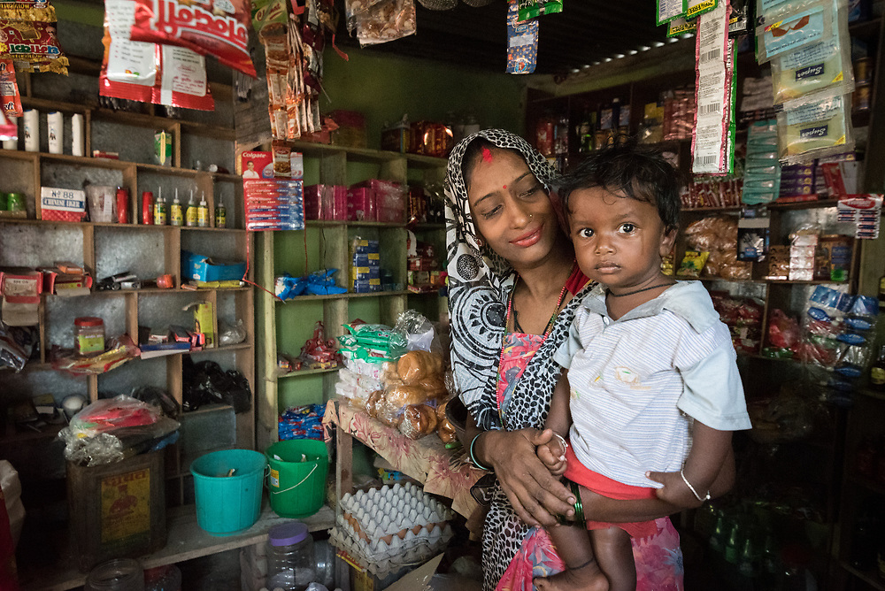 16 September 2018, Sohal Tole, Jahada rural municipality, Nepal: Laxmi Shah runs a small grocery shop in Sohal Tole, Jahada Rural Municipality, Nepal, together with her family member Lila Devi Shah. Sohal Tole is a community inhabited by Santal and Dalit (Musahar) people, who find themselves as the very margin of society in Nepal. The 54 households are supported by the Nepal Evangelical Lutheran Church, as they mobilize together on disaster preparedness, income generating activities, financial governance, and mobilization on sanitation, education and entrepreneurship. The community project also receives technical support from the Lutheran World Federation World Service programme.