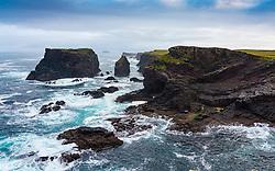 Dramatic cliffs on coast at Eshaness at Northmavine , north mainland of Shetland Islands, Scotland, UK