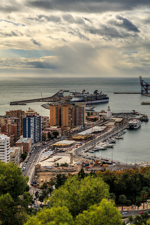 The Malaga harbour in Spain. Malaga's port is over three thousand years of age and every year cruise ships bring thousands of passengers to explore this fascinating old city.