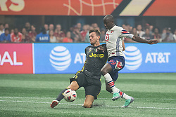 August 1, 2018 - Atlanta, Georgia, United States - Juventus forward STEFANO BELTRAME, 41 clears the ball away from MLS All-Star forward BRADLEY WRIGHT-PHILLIPS, 99 (New York Red Bulls) during the 2018 MLS All-Star Game at Mercedes-Benz Stadium in Atlanta, Georgia.  Juventus F.C. defeats  MLS All-Stars defeat  1 to 1  (Credit Image: © Mark Smith via ZUMA Wire)