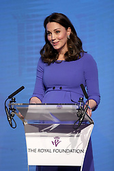The Duchess of Cambridge delivers a speech during the first Royal Foundation Forum in central London.