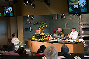 Martin Yan, chef, at Copia: The American Center for Food, Wine, and the Arts. Martin Yan gave a cooking demonstration of 'fire cracker chicken' at Copia's Meyer Food Forum cooking amphitheater. Napa, California. Napa Valley..
