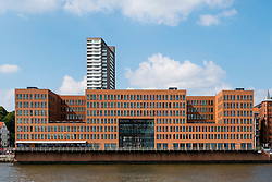 Modern office buildings on waterfront of River Elbe in Hamburg Germany