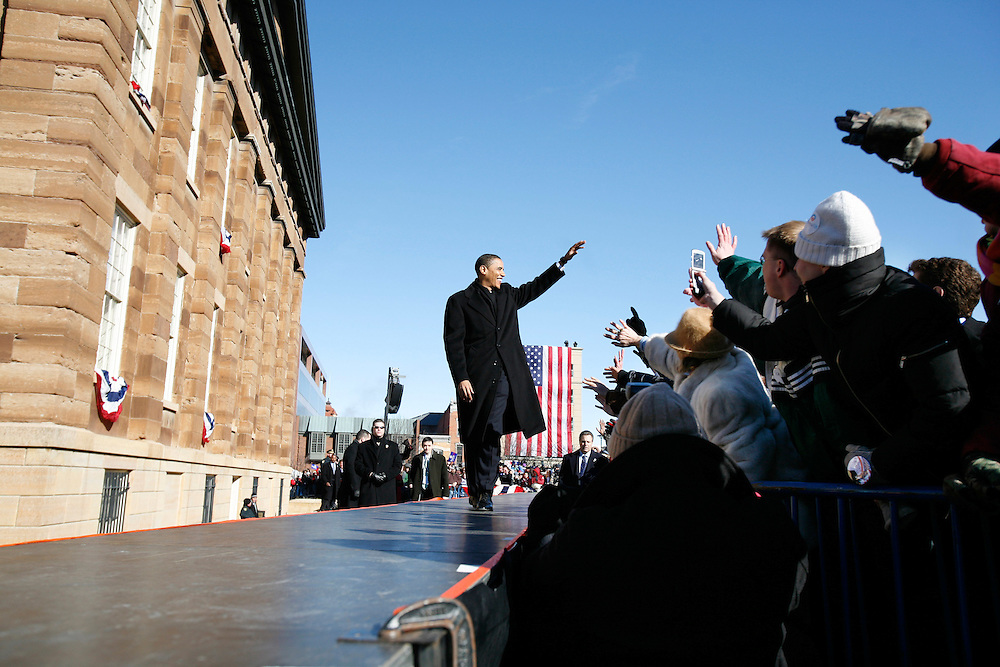 Illinois U.S. Senator Barack Obama waves to an enthusiastic crowd of supporters as he walks out in front of the Old State Capitol in Springfield, Illinois to declare his candidacy for President.