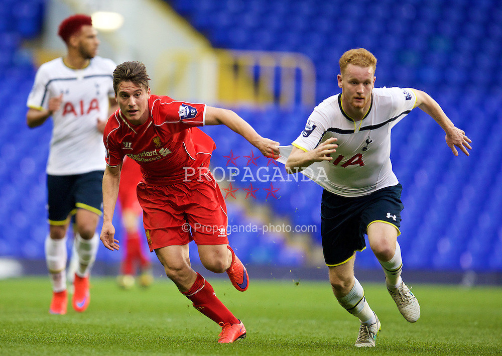 LONDON, ENGLAND - Friday, April 17, 2015: Liverpool's Sergi Canos in action against Tottenham Hotspur's Connor Ogilvie during the Under 21 FA Premier League match at White Hart Lane. (Pic by David Rawcliffe/Propaganda)
