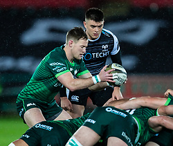 Kieran Marmion of Connacht puts in to the scrum<br /> <br /> Photographer Simon King/Replay Images<br /> <br /> Guinness PRO14 Round 6 - Ospreys v Connacht - Saturday 2nd November 2019 - Liberty Stadium - Swansea<br /> <br /> World Copyright © Replay Images . All rights reserved. info@replayimages.co.uk - http://replayimages.co.uk