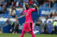 Reading goalkeeper Ali Al-Habsi celebrates at the end of the match after his team win 1-0. EFL Skybet championship match, Cardiff city v Reading at the Cardiff city stadium in Cardiff, South Wales on Saturday 27th August 2016.<br /> pic by Andrew Orchard, Andrew Orchard sports photography.