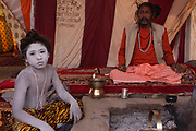 India, Uttarakhand, Haridwar, Kumbh Mela. A Sadhu an ascetic or practitioner of yoga (yogi) who has given up pursuit of the first three Hindu goals of life: kama (enjoyment), artha (practical objectives) and even dharma (duty).