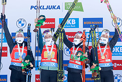 Team Norway: Tandervold Ingrid Landmark, Eckoff Tiril, Lien Ida, Roeiseland Marte Olsbu celebrate at medal ceremony during the IBU World Championships Biathlon 4x6km Relay Women competition on February 20, 2021 in Pokljuka, Slovenia. Photo by Vid Ponikvar / Sportida