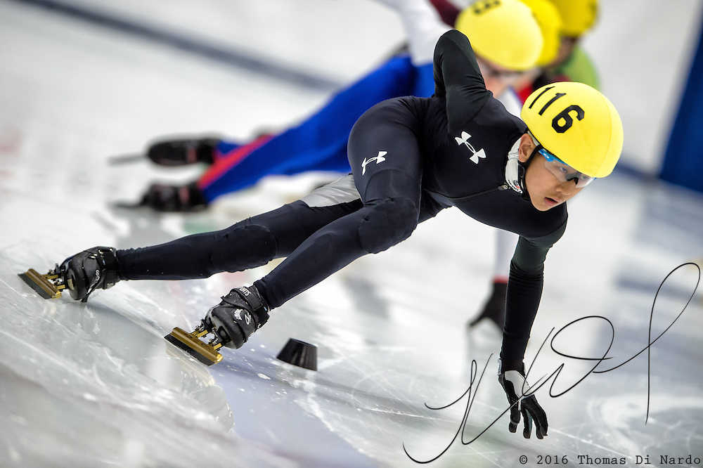 March 19, 2016 - Verona, WI - Jason Won, skater number 116 competes in US Speedskating Short Track Age Group Nationals and AmCup Final held at the Verona Ice Arena.