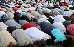 September 1, 2017 - Gaza City, Gaza Strip, Palestinian Territory - Palestinian muslims pray on the first day of of Eid al-Adha or the feast of sacrifice in Gaza city. Muslims around the world are celebrating Eid al-Adha, the ''Feast of Sacrifice'', which marks the end of the annual pilgrimage or hajj to the Saudi holy city of Mecca and in remembrance of Abraham's readiness to sacrifice his son to God  (Credit Image: © Mohammed Asad/APA Images via ZUMA Wire)