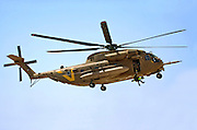 Israeli Air force Sikorsky CH-53 helicopter during a rescue operation