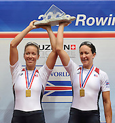 Lucerne, SWITZERLAND, USA W2X, Gold medalist, right,  Megan KALMOE and Ellen TOMEK, Third round of the  2009 FISA World Cup,  Rotsee Regatta Course, Sunday  12/07/2009 [Mandatory Credit Peter Spurrier/ Intersport Images].