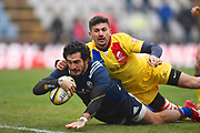 USA player Ryan Matyas scores a try in the second half during the November Test match between Romania and USA at Ghencea Stadium, Bucharest, Romania on 17 November 2018.