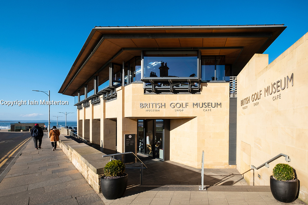 Exterior view of British Golf Museum beside the Old Course in St Andrews, Fife, Scotland, UK.