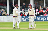 Tom Abell of Somerset and Dom Bess of Somerset touch gloves during the third day of the Specsavers County Champ Div 1 match between Somerset County Cricket Club and Yorkshire County Cricket Club at the Cooper Associates County Ground, Taunton, United Kingdom on 29 April 2018. Picture by Graham Hunt.