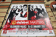 a Tournament poster is displayed on one off the walls outside Alexandra Palace. Ronnie O'Sullivan (Eng) v Neil Robertson (Aus), Quarter-Final match at the Dafabet Masters Snooker 2017, at Alexandra Palace in London on Thursday 19th January 2017.<br /> pic by John Patrick Fletcher, Andrew Orchard sports photography.