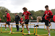young players Ethan Ampadu of Wales © and Ben Woodburn of Wales ® during the Wales football team training at the Vale Resort, Hensol , South Wales on Monday 2nd October 2017, the team are preparing for their FIFA World Cup qualifier away to Georgia this week. pic by Andrew Orchard, Andrew Orchard sports photography