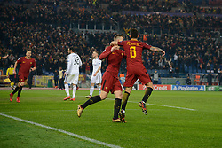 December 5, 2017 - Rome, Italy - Diego Perotticelebrates after scoring goal 1-0 during the Champions League football match A.S. Roma vs  Qarabag at the Olympic Stadium in Rome, on december 05, 2017. (Credit Image: © Silvia Lore/NurPhoto via ZUMA Press)