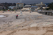 Sydney, Australia, 22nd Apr, 2015. Bondi Beach today after the worst storm in 8 years with cyclonic winds and torrential rain. The sand ended up being pushed back right to the end of the beach towards the promenade and covered in debris.