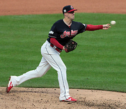 October 6, 2017 - Cleveland, OH, USA - Cleveland Indians relief pitcher Tyler Olson works against the New York Yankees in the fourth inning during Game 2 of the American League Division Series, Friday, Oct. 6, 2017, at Progressive Field in Cleveland. (Credit Image: © Mike Cardew/TNS via ZUMA Wire)