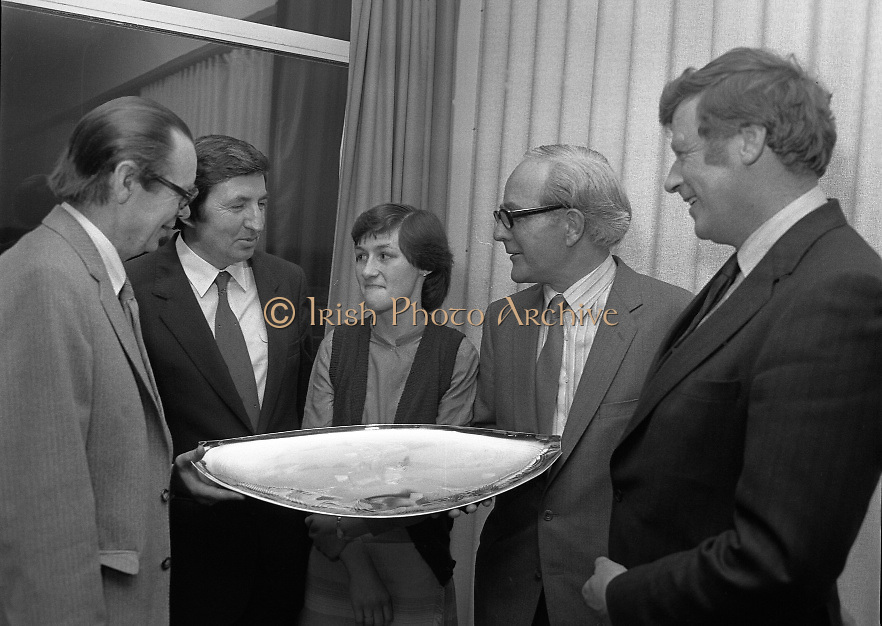 """""""The National Fish Cookery Award""""..29.04.1982..04.29.1982.29th April 1982.1982..This competition sponsored by Bord Iascaigh Mhara was held in The Clare Inn, Newmarket-on Fergus,Co Clare. the competition was open to schools across the country.Mr Paddy Kerin,Assistant Sec., Department of Fisheries and Forestry,Minister Daly,Catherine O'Sullivan (winner) and Mr.T.F.Geoghegan,Market Development Manager,Bord Iascaigh Mhara and Dr Tony Meaney pose with the Silver Salver."""