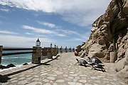 Iron turtles as an exterior decoration of El Farallon, Cliffside seafood grill restaurant at Capella Pedregal Hotel & Resort in Cabo San Lucas, Baja California Sur, Mexico. The turtles welcome the visitor upon entrance, and are a very common object found throughout the resort.
