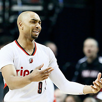 25 April 2016: Portland Trail Blazers guard Gerald Henderson (9) reacts during the Portland Trail Blazers 98-84 victory over the Los Angeles Clippers, during Game Four of the Western Conference Quarterfinals of the NBA Playoffs at the Moda Center, Portland, Oregon, USA.
