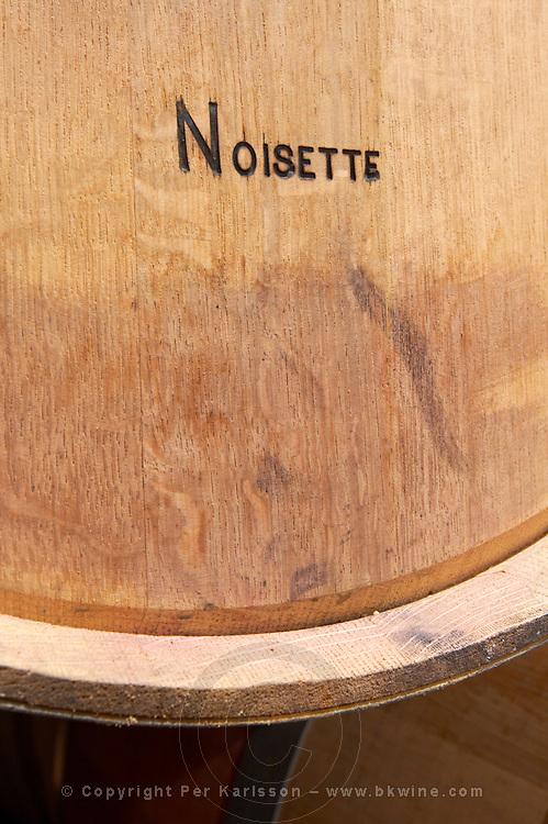 barrel with stamp noisette toasting level chateau lestrille bordeaux france