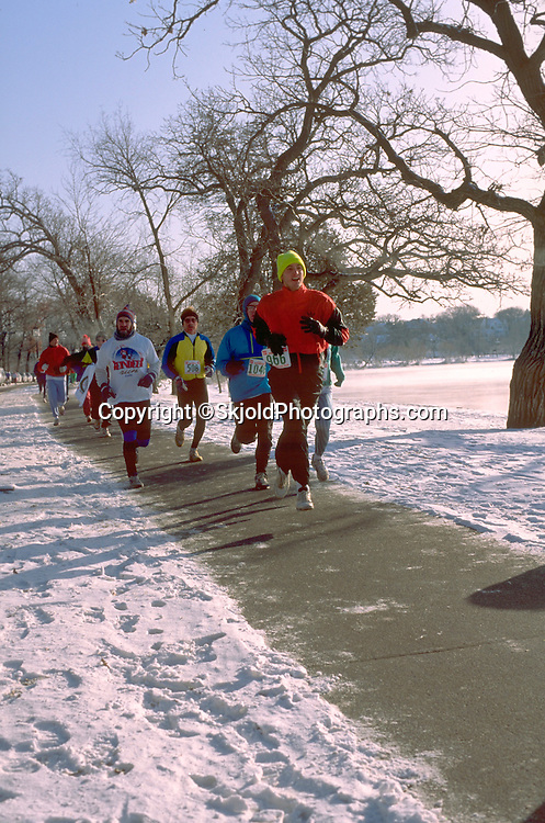 Winter race around Lake Harriet. Minneapolis Minnesota USA