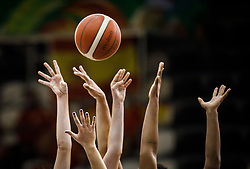 Hands catching a Basketball Ball, August 2021 in Debrecen, Hungary, Slovenia. Photo by Vid Ponikvar / Sportida