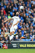 Joe Ledley of Derby county jumps for a header with Loic Damour of Cardiff city ®. EFL Skybet championship match, Cardiff city v Derby County at the Cardiff city stadium in Cardiff, South Wales on Saturday 30th September 2017.<br /> pic by Andrew Orchard, Andrew Orchard sports photography.