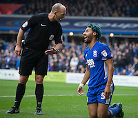 Birmingham City's Ryan Shotton receives a talking to from Referee Mike Dean<br /> <br /> Photographer James Williamson/CameraSport<br /> <br /> The EFL Sky Bet Championship - Birmingham City v Aston Villa - Sunday October 30th 2016 - St Andrews - Birmingham<br /> <br /> World Copyright © 2016 CameraSport. All rights reserved. 43 Linden Ave. Countesthorpe. Leicester. England. LE8 5PG - Tel: +44 (0) 116 277 4147 - admin@camerasport.com - www.camerasport.com