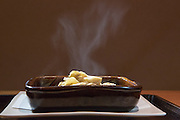 Mushroom casserole (porcini and morel   mushrooms, tofu, goma-fu, ginger, sansho powder) at Kajitsu, 125 E. 39th St., New York.