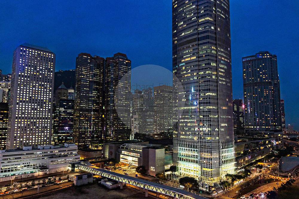 Hong Kong Island skyline at twilight in the Central District of Hong Kong.