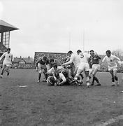 Irish Rugby Football Union, Ireland v France, Five Nations, Landsdowne Road, Dublin, Ireland, Saturday 15th April, 1967,.15.4.1967, 4.15.1967,..Referee- R P Burrell, Scottish Rugby Union, ..Score- Ireland 6- 11 France, ..Irish Team, ..T J Kiernan,  Wearing number 15 Irish jersey, Full Back, Cork Constitution Rugby Football Club, Cork, Ireland,..R D Scott, Wearing number 14 Irish jersey, Right Wing, Queens University Rugby Football Club, Belfast, Northern Ireland, ..F P K Bresnihan, Wearing number 13 Irish jersey, Right Centre, University College Dublin Rugby Football Club, Dublin, Ireland, ..J C Walsh,  Wearing number 12 Irish jersey, Left Centre, Sundays Well Rugby Football Club, Cork, Ireland, ..N H Brophy, Wearing number 11 Irish jersey, Left wing, Blackrock College Rugby Football Club, Dublin, Ireland, ..C M H Gibson, Wearing number 10 Irish jersey, Stand Off, N.I.F.C, Rugby Football Club, Belfast, Northern Ireland, ..R M Young, Wearing number 9 Irish jersey, Scrum Half, Queens University Rugby Football Club, Belfast, Northern Ireland,..K G Goodall, Wearing number 8 Irish jersey, Forward, Newcastle University Rugby Football Club, Newcastle, England, ..M G Doyle, Wearing number 7 Irish jersey, Forward, Edinburgh Wanderers Rugby Football Club, Edinburgh, Scotland, ..N A Murphy, Wearing number 6 Irish jersey, Captain of the Irish team, Forward, Cork Constitution Rugby Football Club, Cork, Ireland,..M G Molloy, Wearing number 5 Irish jersey, Forward, University College Galway Rugby Football Club, Galway, Ireland,  ..W J McBride, Wearing number 4 Irish jersey, Forward, Ballymena Rugby Football Club, Antrim, Northern Ireland,..S A Hutton, Wearing number 3 Irish jersey, Forward, Malone Rugby Football Club, Belfast, Northern Ireland, ..K W Kennedy, Wearing number 2 Irish jersey, Forward, C I Y M S Rugby Football Club, Belfast, Northern Ireland, ..S MacHale, Wearing number 1 Irish jersey, Forward, Landsdowne Rugby Football Club, Dublin, Ireland, ..French Team, ..P Villep